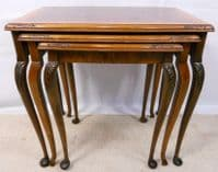 Walnut Nest of Three Coffee Tables with Cross-banded Top - SOLD